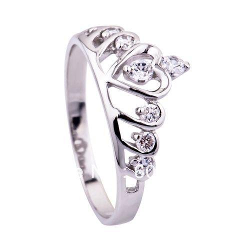 Envío gratis-- venta al por mayor y al por menor& para 100% 925 completo de plata esterlina del anillo de la corona, 925 anillo de plata, amante del anillo( gnj0047)