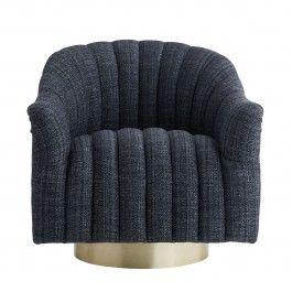 springsteen chair indigo tweed champagne swivel - Drehsthle Fr Wohnzimmer Zeitgenssisch