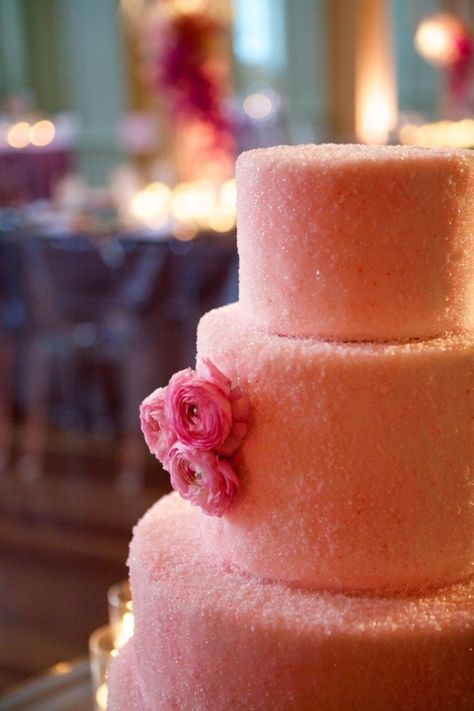 Look how pretty this pink-sugared cake is! by Sweet Sensations / Photography by ardenphotography.com