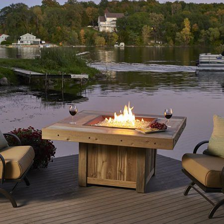 Vintage Gas Fire Pit Table Woodlanddirect Com Outdoor Fireplaces Fire Pits Gas The Outdoor Greatroom Feuerstelle Outdoor Feuerstelle Feuerstellen Tisch