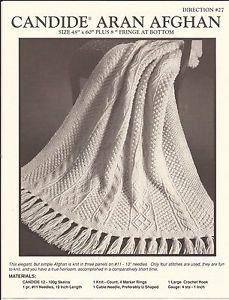 Reynolds Candide Aran Afghan KNITTING PATTERN #27 Pattern Only