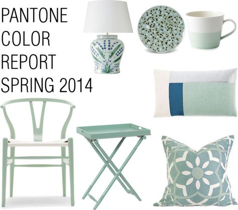 """Interior Design and Home Decor inspired by the color """"Hemlock"""" from Pantone's Color Report Spring 2014. I love the gray/mint shades! http://www.stockholmmilano.blogspot.se"""
