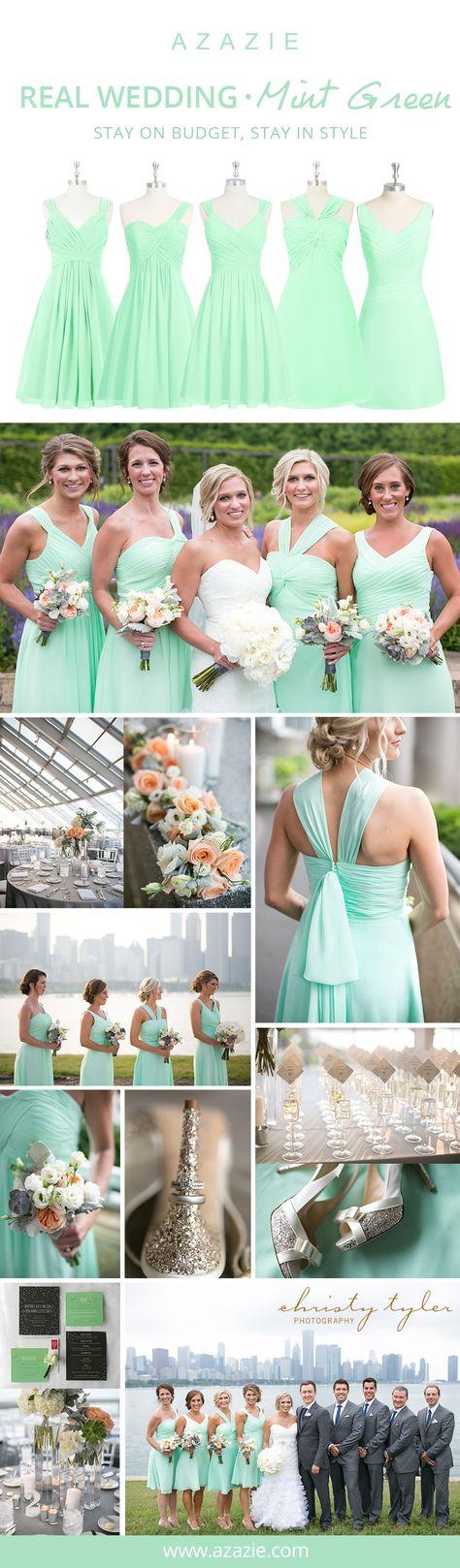 Mint Green Modest Bridesmaid Dresses | Azazie