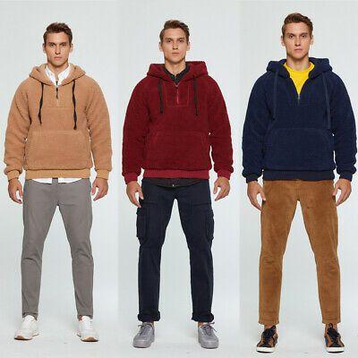 Men Winter Casual Hoodie Warm Pullover Fleece Sweatshirt Hooded Coat Plain Tops