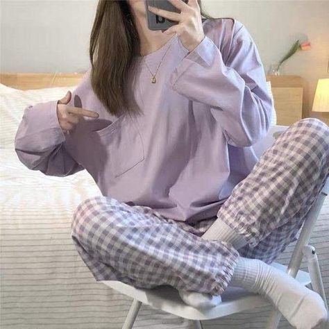 Women Loose Tops O-neck Pajama Sets - Purple / XXL