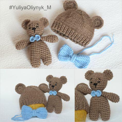 04c2820db Set of 3 pcs.Teddy toy crochet Knit Baby Set Newborn crocheted Teddy ...
