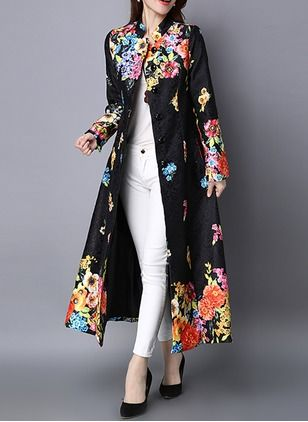 Luxury Vintage Floral Lace Chinese Women Fashion Mid Long Jacket Winter Overcoat