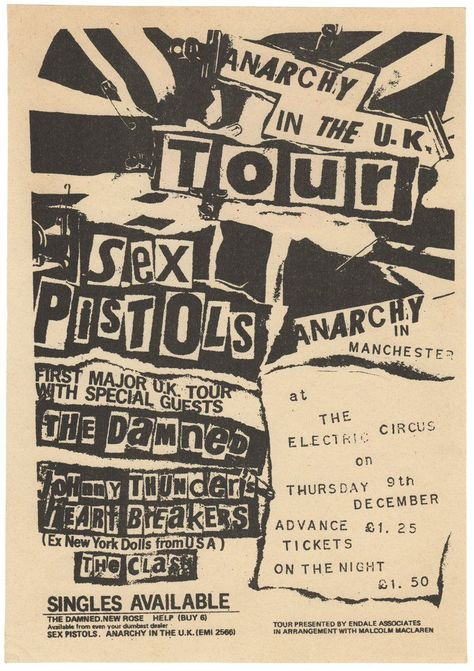 """[Original Anarchy in the UK Tour Flyer] by [Sex Pistols]. REID, Jamie (Designer)  Manchester: Electric Circus, [1976].   First Edition . Fine.  A4 broadside printed recto only. Fine condition.   Reid-de signed  flyer from the Pistols infamous 1976 """"Anarchy in the UK"""" tour. Used for both national advertising as well as local p...  more   Offered By  Brian Cassidy, Bookseller"""