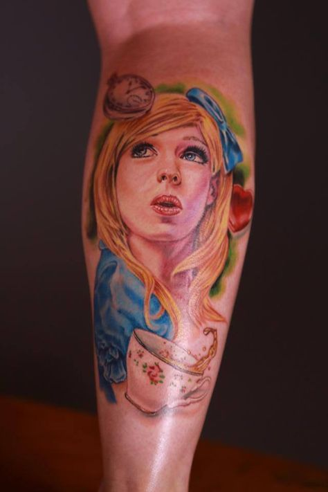 Josh Bodwell's Alice in Wonderland tattoo from last nights premiere of Epic Ink on A&E.
