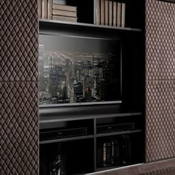 Contemporary Quilted Nubuck Italian TV Cabinet | Juliettes Interiors