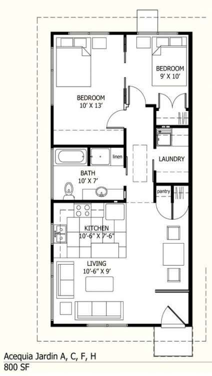 House Plans One Story 800 Sq Ft 51 Ideas Small House Floor Plans Guest House Plans Tiny House Floor Plans