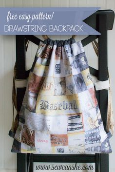 Easy Peasy Drawstring Backpack {free sewing tutorial} — SewCanShe   Free Daily Sewing Tutorials