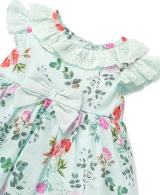 Kleding en accessoires 0-3-6-9mth Baby Girl White Pink Gingham Flower Embroidered Dress & Bloomers Set