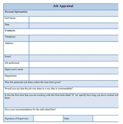 The Job Appraisal Form Records The Assessment Of A Job Or A Work