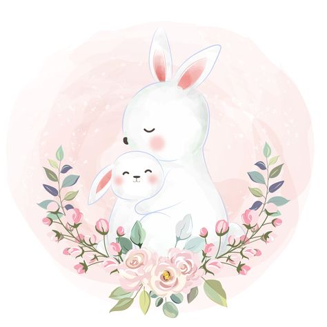 adorable animals illustration, nursery art decoration, baby shower decoration, bunny, rabbit