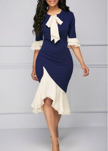Flare Cuff Asymmetric Hem Tie Neck Sheath Dress