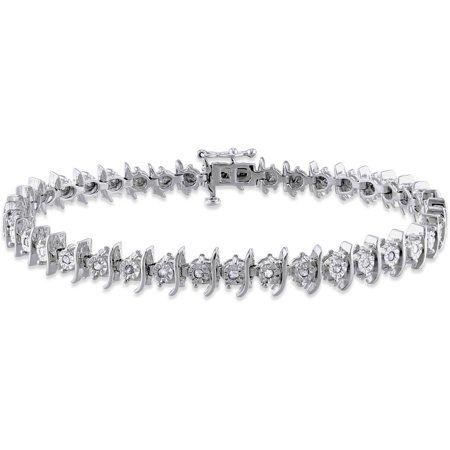 Miabella 1 2 Carat T W Diamond Sterling Silver Tennis Bracelet 7 25 Walmart Com Silver Diamond Bracelet Silver Silver Diamonds