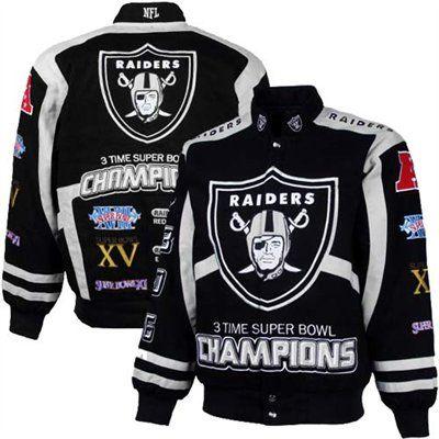 Oakland Raiders Black-Silver 3X Super Bowl Champions Commemorative Cotton Canvas Full Button Jacket