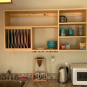 Triple Shelf Wood Plate Dish Rack Glasses Spices Organizer Etsy Modern Cabinets Kitchen Design Small Dish Rack Cabinet