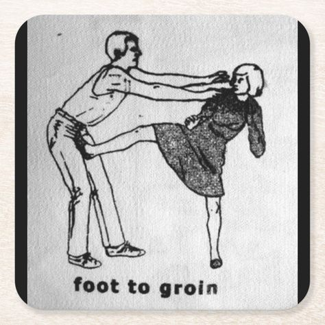 Foot To Groin Paper Coaster Arte Punk, Riot Grrrl, Diy Patches, Self Defense, Drawing, Martial Arts, Krav Maga, Just In Case, Screen Printing