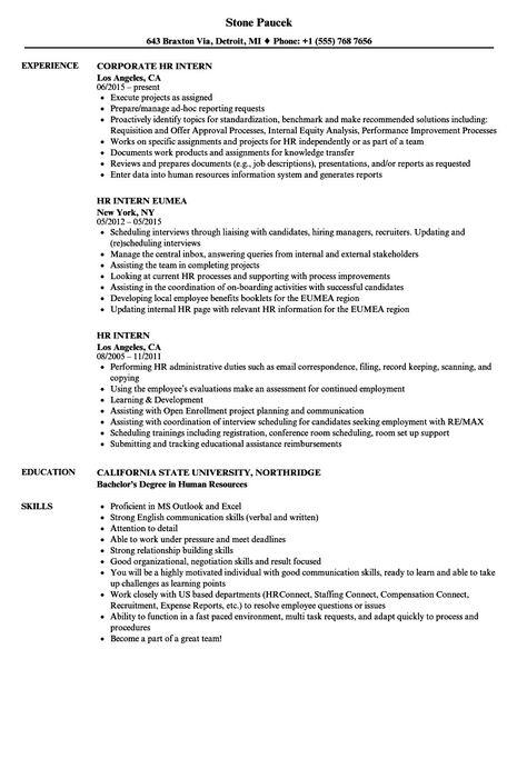 Human Resource Internship Resume Fresh Hr Intern Resume Samples Job Resume Examples Internship Resume Good Resume Examples