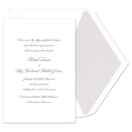 Set the tone for a most exquisite celebration with this pearl white invitation graced with your personalized text in your choice of typestyle and ink color.