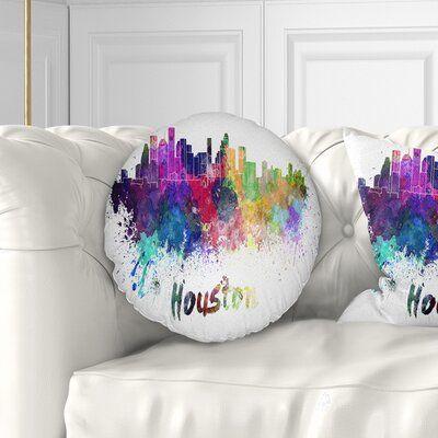 East Urban Home Cityscape Houston Skyline Throw Pillow Size 20 X 20 Floral Throw Pillows Throw Pillows Indoor Throw Pillows