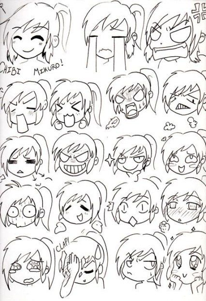 65 Trendy Drawing Faces Cartoon Anime Facial Expressions Drawing