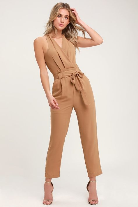 Lulus | In the City Tan Surplice Sleeveless Jumpsuit | Size X-Large | 100% Polyester