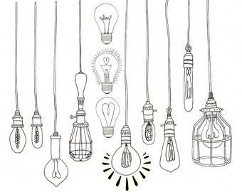 Printable Label Clipart Tabs Art Journal Graphic Border Etsy In 2020 Light Bulb Art Drawing Light Bulb Art Light Bulb Drawing