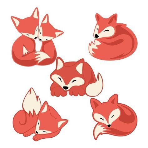 Lazy Fox Pack Cuttable Design Cut File. Vector, Clipart, Digital Scrapbooking Do...