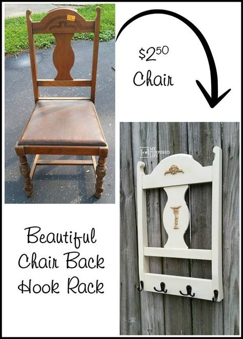 Repurposed Chair Back Coat Rack is part of Recycled furniture - Repurposed Chair Back Coat Rack This diy project creates a new coat rack from an old chair! See the step by step tutorial to make your own