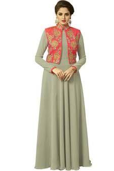 52df6516162 Buy Green embroidered georgette chikankari-kurtis chikankari-kurtis ...