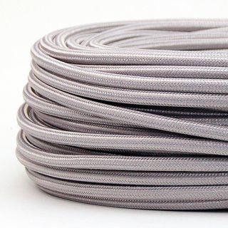 Textilkabel Stoffkabel Silber 3 Adrig 3x0 75 Gummischlauchleitung 3g 0 75 H03vv F Textilummantelt Textilkabel Kabel Textil