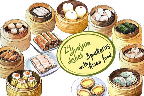 Watercolor Asian Food Dim Sum Dim Sum Asian Recipes Indian Food Menu