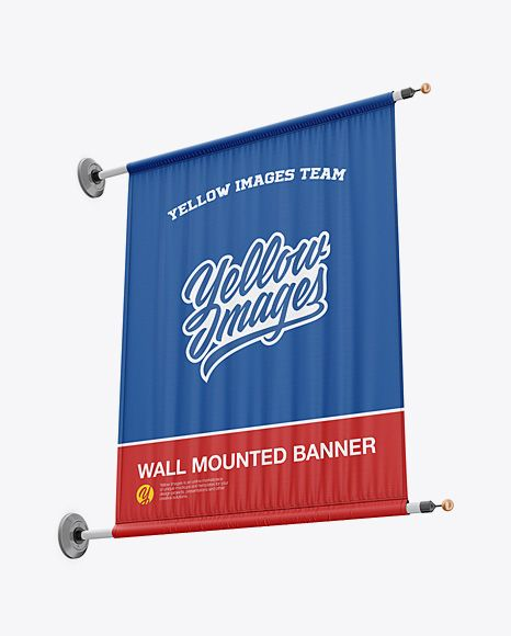 Download PSD Free Mockups Wall Mounted Banner Mockup - Low-Angle