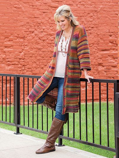Absolutely no seams! This cardigan, worked as one piece with no seams, will look great whether styled casual or dressy. Sample shown is crocheted in Red Heart Unforgettable Yarn. Instructions are written for sizes: S: 2,058 yards (M: 2,205 yards, L:...