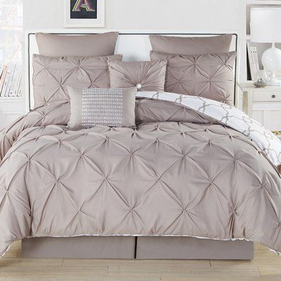Willa Arlo Interiors Rigina Reversible Comforter Set Color Taupe Size Queen Comforter 7 Additional Pieces In 2020 Comforter Sets Comforters Single Duvet Cover
