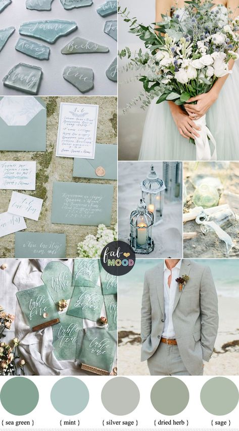 Sage Colour Palette For Beach Wedding { Sage Silver Sage Mint Sea Green } 22 Fabulous Sage Wedding Ideas – Sage, Sea Green Beach Wedding Colour Palette, Looking for a wedding colour that refreshing.