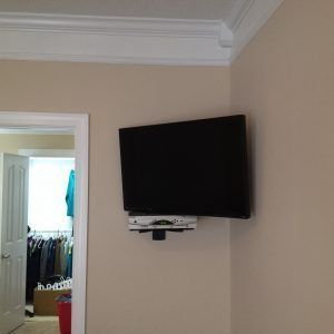 Corner Tv Wall Mount With Shelf For Cable Box Wall Mounted