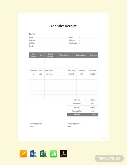 Free Car Sale Receipt Template Pdf Word Doc Excel Apple Mac Pages Google Docs Google Sheets Apple Mac Numbers Free Cars Receipt Template Sales Template