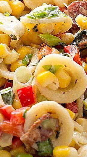 Pasta Salad With Corn Bacon And Buttermilk Ranch Dressing Recipe Simplyrecipes Com Recipe Pasta Salad Best Pasta Recipes Delicious Salads