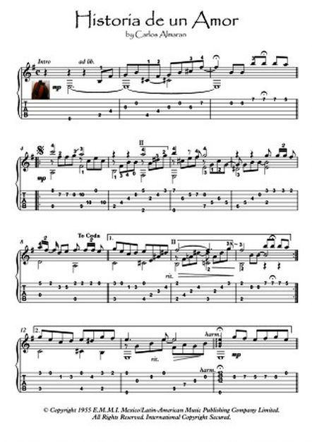 Historia De Un Amor Guitar Solos Sheet Music Classical Guitar Sheet Music Guitar Solo