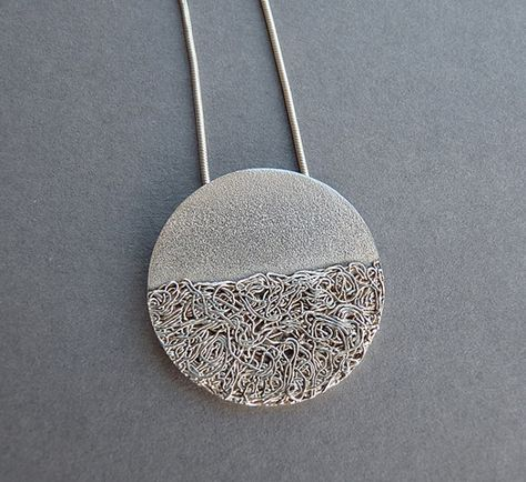 Silver round pendant - Sterling silver - Fine silver - Textured- - Silver jewelry - Contemporary - Handcrafted - Silver Necklace Source by marliespype Jewelry