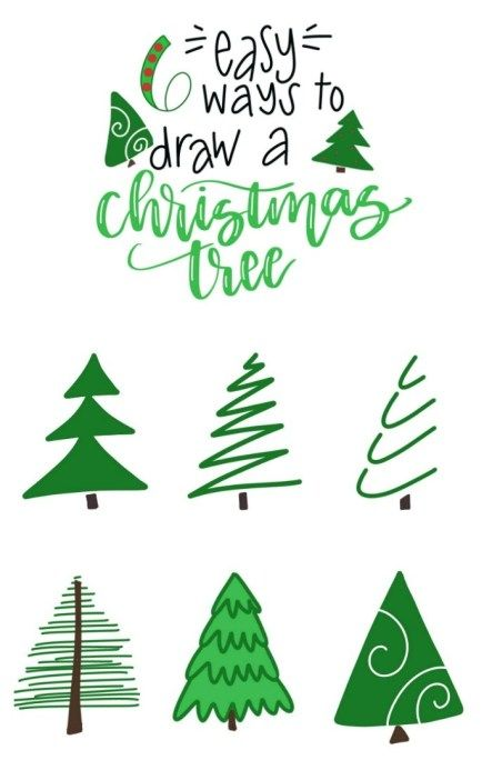 6 Easy Ways To Draw A Christmas Tree Christmas Tree Drawing Christmas Tree Painting Christmas Drawing