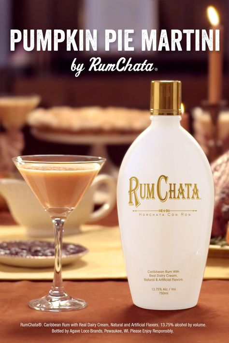 2 parts RumChata 1 part Vanilla Vodka 1 part Pumpkin Syrup (or Substitute 3 tbsp Pumpkin Pie Filling) Cinnamon Shake with ice and strain into a martini glass sprinkle with cinnamon.