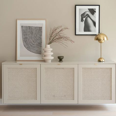 Besta open cane cabinet (with top sides) – Fronteriors Ikea Tv, Ikea Hack, Küchen Design, House Design, Interior Design, Design Interiors, Wall Design, Tv Bench, Home And Living