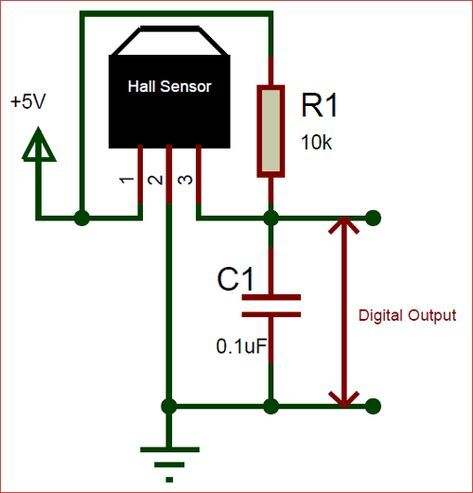 Circuit using A3144 Hall effect Sensor ekkor: 2019 on