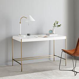Audrey Desk Parchment In 2020 Mid Century Mini Desk Parsons Desk Furniture
