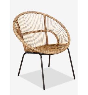Round Rattan Chair W Metal Legs K D 31x27 8x31 8 Occasional